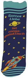Socken 'Gottes Liebe ist megagalaktisch'