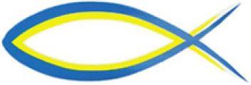 Aufkleber 'Fisch' - blau/neongelb