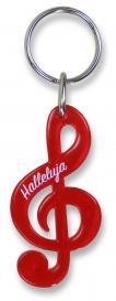 Schlüsselanhänger Notenschlüssel 'Halleluja' - rot